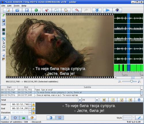 Upucavanje titlova sa prikazom scene u programu Jubler 4.1.3