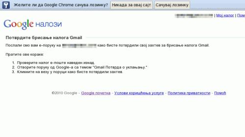 Google nalozi → potvrdite brisanje naloga Gmail