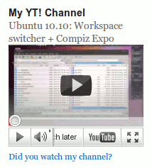 Widget YouTube Channel in action (new YouTube with controls and fixed height)