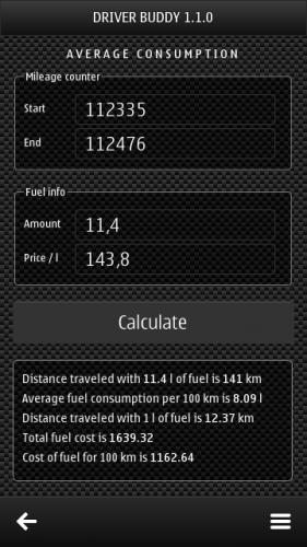 Driver Buddy 1.1.0: Average consumption: Mileage counter