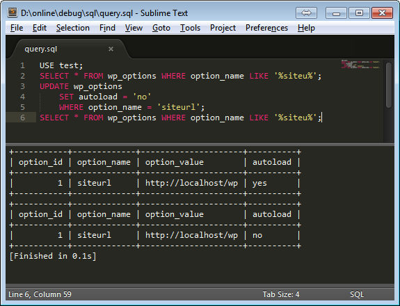 Sublime Text 3 + MySQL Query