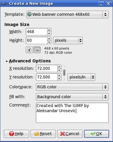 GIMP: Create a New Image