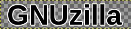 GIMP: текст GNUzilla са белом позадином широм за 2 px