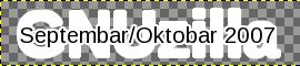 """GIMP: текст """"Septembar/Oktobar 2007"""" са маском текста """"GNUzilla"""""""