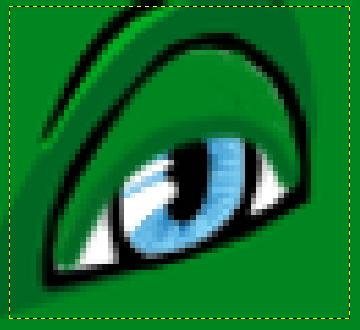 GIMP: зумирана слика ока GNUzilla маскоте