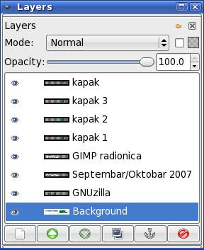 GIMP: распоређени слојеви на дијалогу Layers
