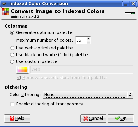 GIMP: Indexed Color Conversion