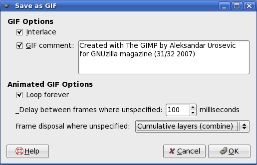 GIMP: Save as GIF