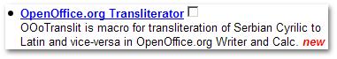 OOoTranslit @ LinuxLinks.com