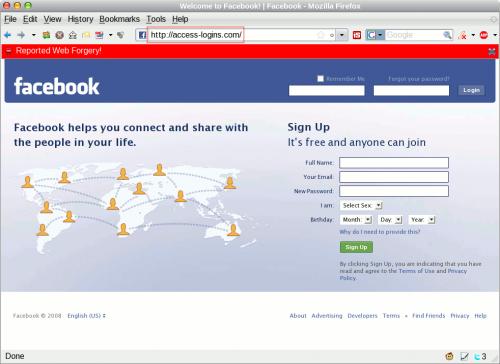 access-logins.com Facebook phishing