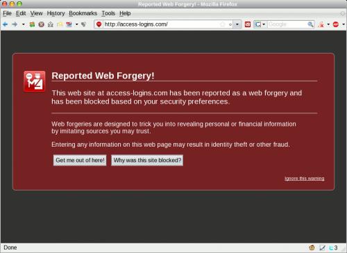 access-logins.com Firefox warning