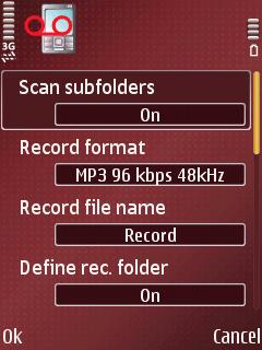 ALON MP3 Dictaphone, подешавања програма