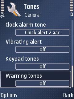 Warning tones: Off
