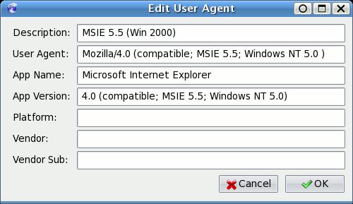 Firefox → User Agent Switcher → Add New User Agent