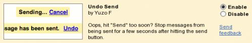 GMail → Settings → Labs → Undo Send: укључивање додатка