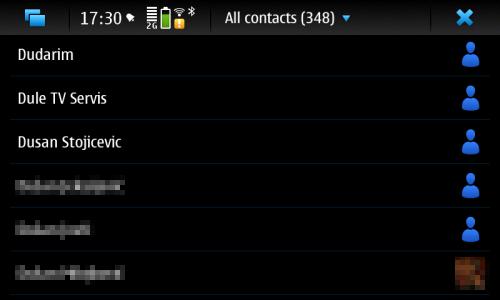 Nokia N900 адресар