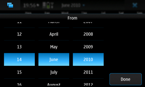 Nokia N900: Calendar: избор датума