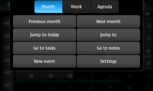 Nokia N900: Calendar: мени