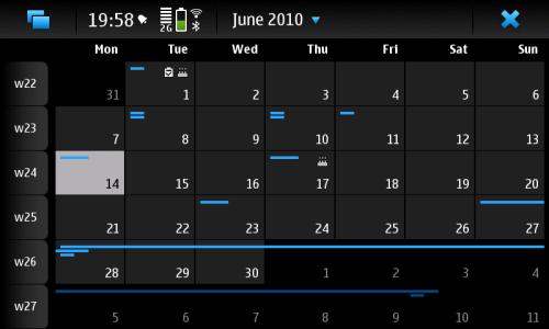 Nokia N900: Calendar: месечни преглед догађаја
