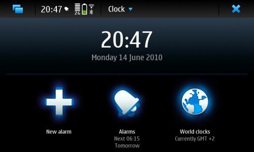 Nokia N900: часовник и аларм (будилник)