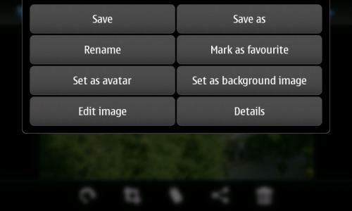 Nokia N900: мени појединачне слике