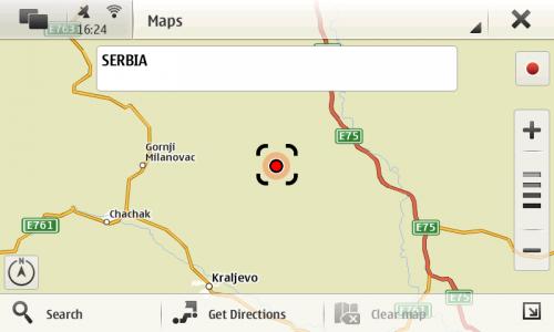 Nokia N900: OVI Maps → Србија