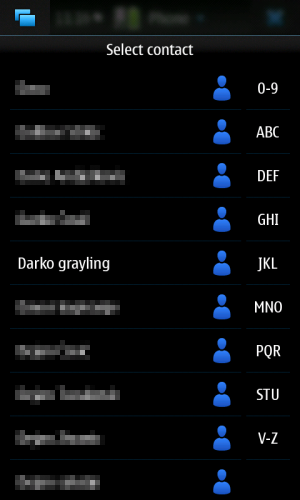 Nokia N900: Phone: напредни избор котанкта