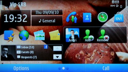Nokia N8: друга радна површина са виџетима за друштвене мреже