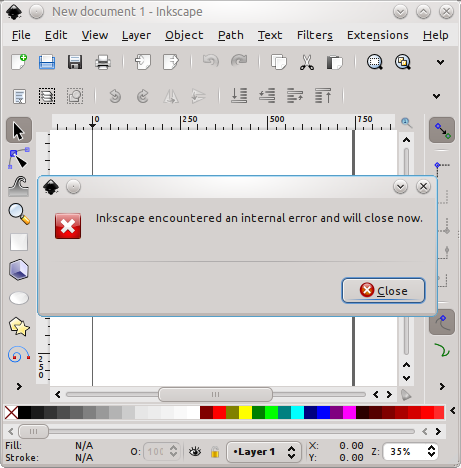 Kubuntu 10.10 и Inkscape 0.48: Inkscape encountered an internal error and will close now.