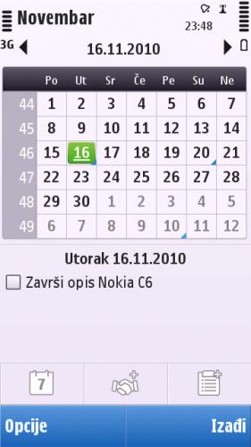 Nokia C6-00: календар