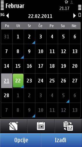Nokia C7: календар