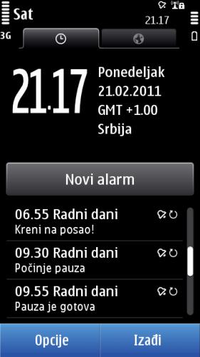 Nokia C7: сат и аларми