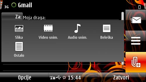Nokia E7: прилагање датотека при састављању е-писма