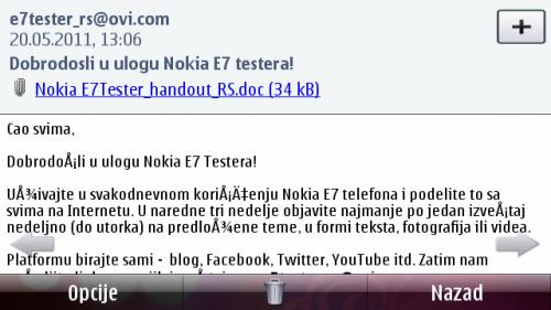 Nokia E7: приказ е-писма за читање