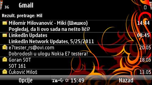 Nokia E7: резултати претраге е-поште