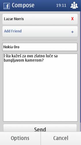 Nokia E7: састављање нове личне поруке на Фејсбуку