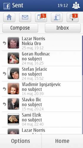 Nokia E7: послате личне поруке на Фејсбуку