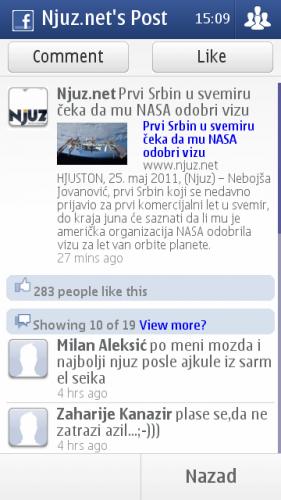 Nokia E7: преглед објаве на Фејсбуку