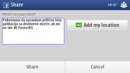 Nokia E7: писање статуса на Фејсбуку