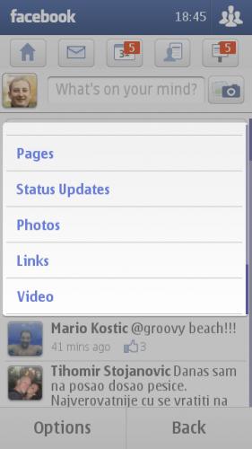 Nokia E7: филтер почетне стране Фејсбука