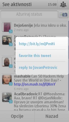 Nokia E7: мени за акције над твитом на Твитеру