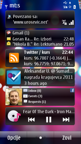 Nokia E7: виџет за друштвене мреже (приказује Фејсбук)