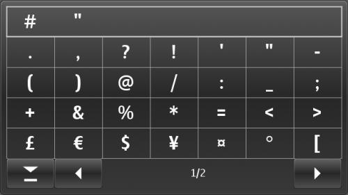 Nokia E7: таблица симбола