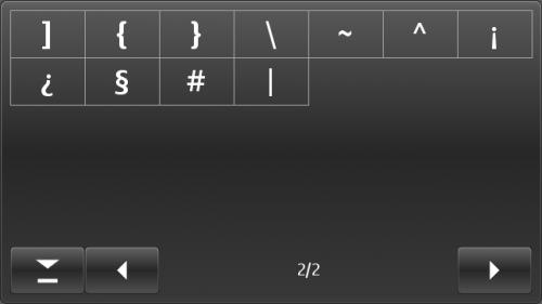 Nokia E7: таблица друге стране симбола