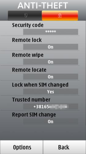 Подешавања F-Secure Anti-Theft модула