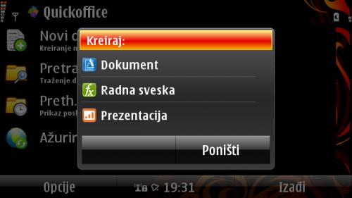 Креирање новог документа у програму QuickOffice
