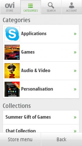 Ovi Store → Categories: категорије апликација