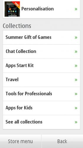 Ovi Store → Categories: колекције апликација