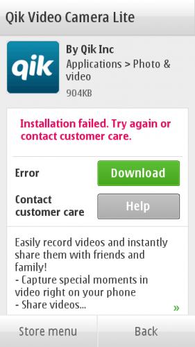 Неуспешна инсталација апликације