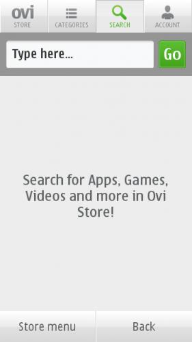 Ovi Store → Search: претрага апликација